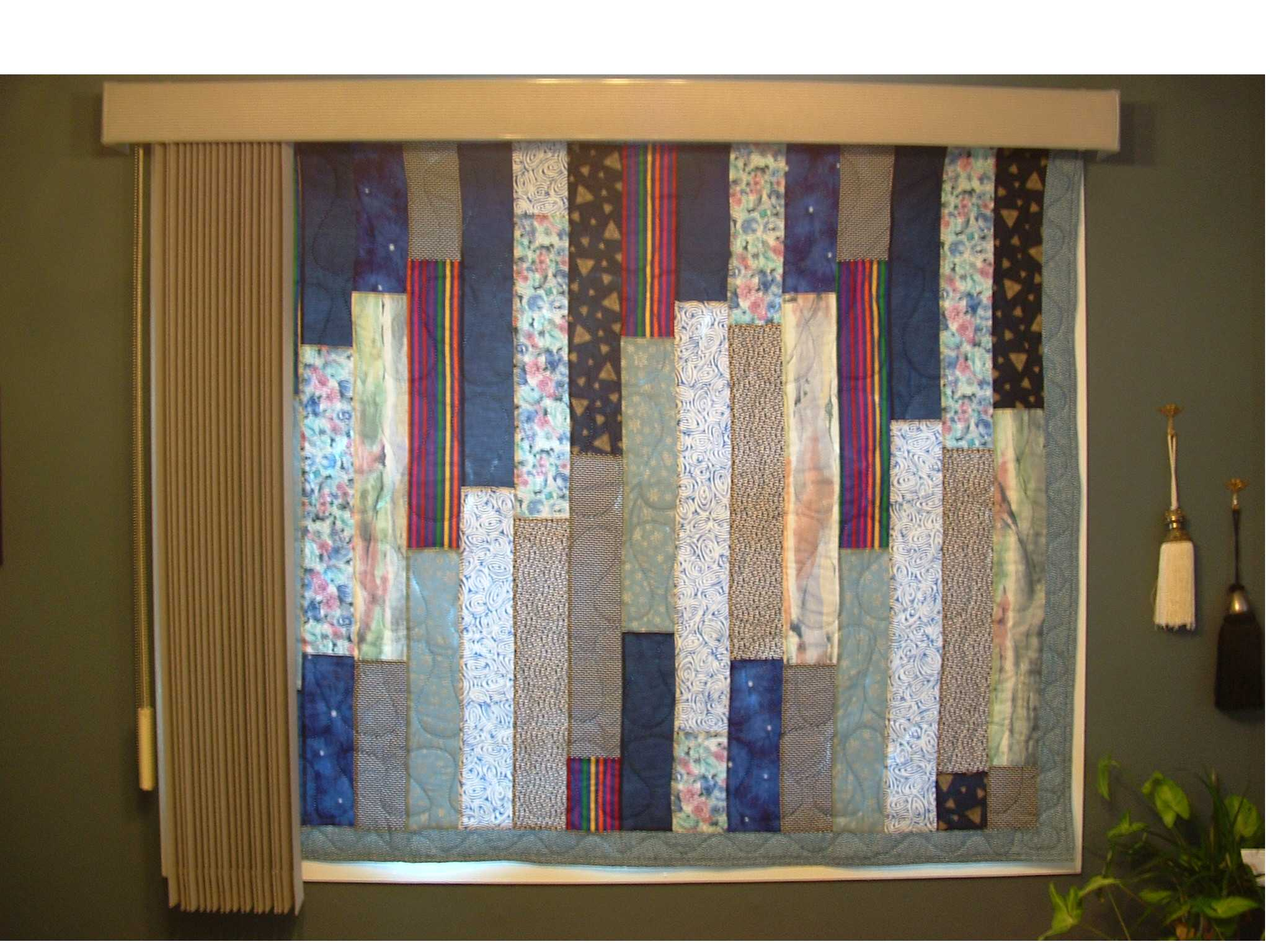 Quilt From Inside, With Vertical Blinds Open