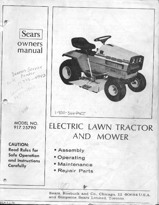 from owner's manual for 1974 sears electric lawn tractor and